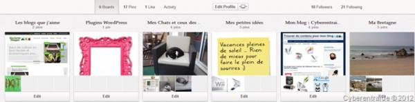 organiser les tableaux de Pinterest ou boards