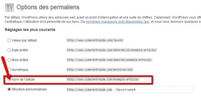 formatage des permaliens de son blog wordpress pour une bonne indexation