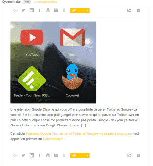 partage articles feedly
