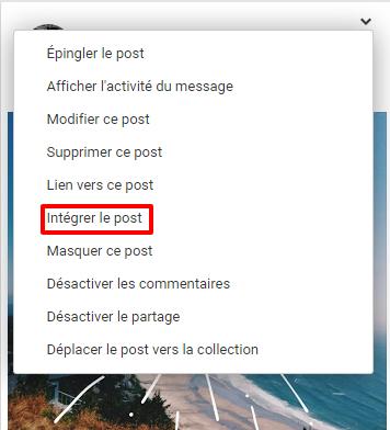 intégrer un post google+