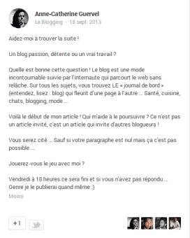 Un blog post google+