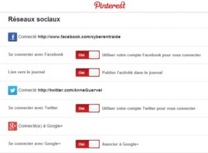 Lier entre eux vos réseaux sociaux dans Pinterest