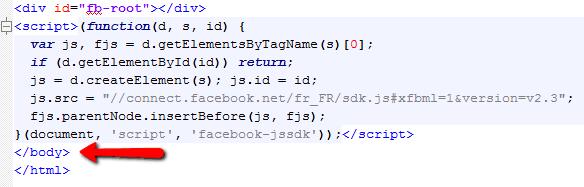 installation d'un code dans le footer